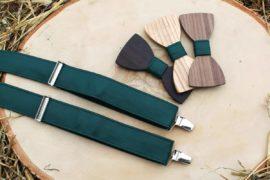 Pánsky drevený motýlik a traky - Zelený