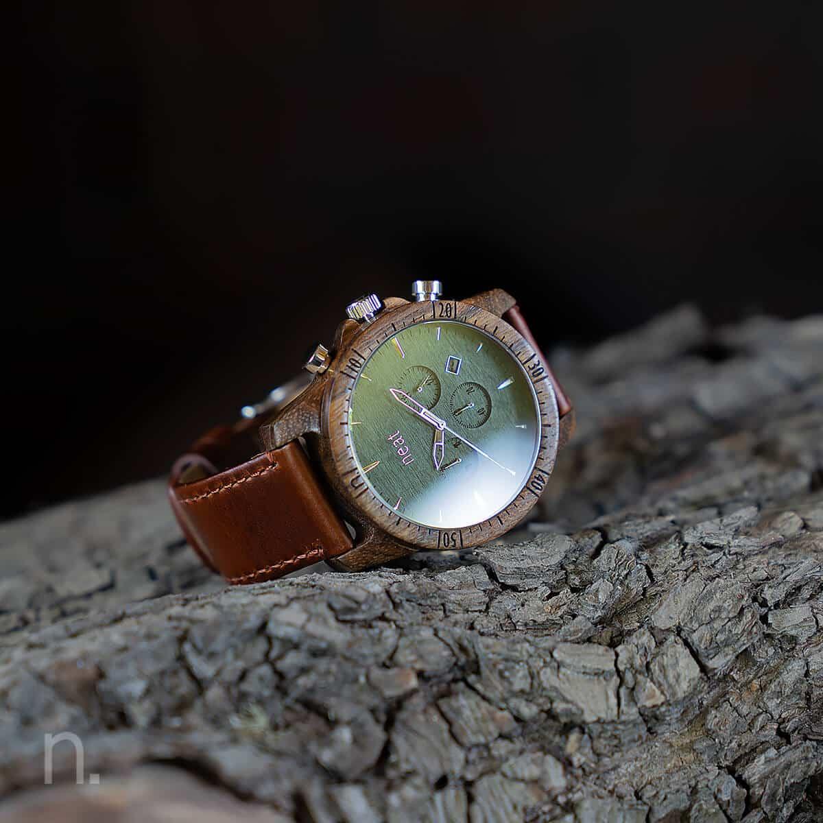 Pánske drevené hodinky Chrono – Hnedo strieborné