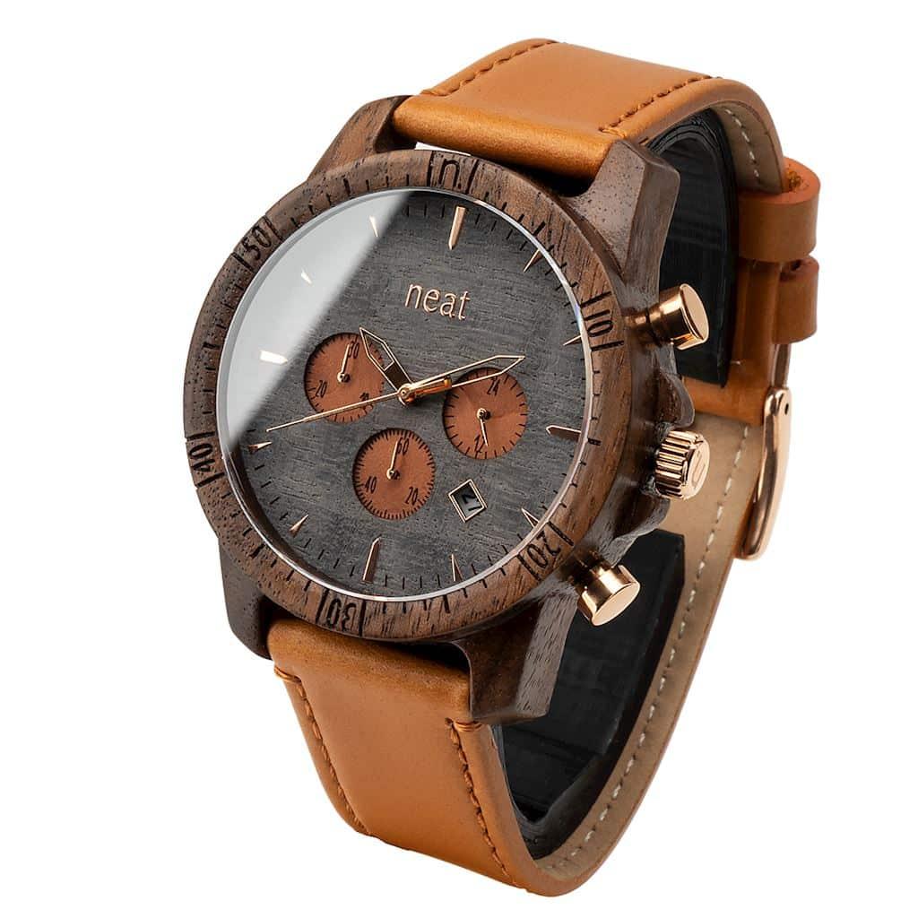 Pánske drevené hodinky Chrono – Škoricovo zlaté