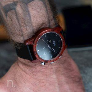 Pánske drevené hodinky Chrono - Čierno strieborné