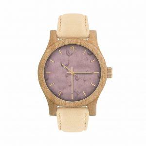 Dámske drevené hodinky Classic - Fialovo bežové