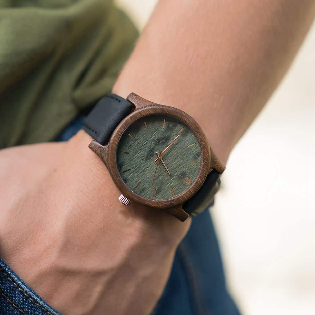 Pánske drevené hodinky Classic - Zeleno čierne